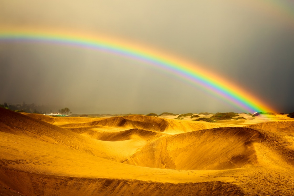 'landscape, rainbow and dunes on Gran Canaries desert' - Gran Canaria